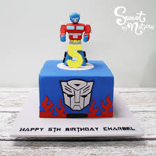 optimus prime cake topper charbel s 5th birthday cake was transformer s themed complete with