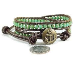 anchor wrap bracelet images Beaded leather wrap bracelet green picasso czech glass anchor jpg