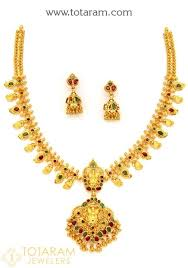 emerald gold necklace images 22k gold 39 lakshmi 39 ruby emerald necklace drop earrings set jpg