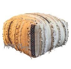 Ottoman Morocco Handira Moroccan Pouf Ottoman Onyx Stripes Mpw Plaza