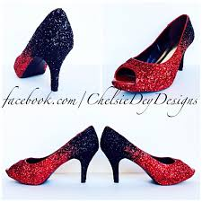 glitter high heels black red pumps ombre peep toe heels sparkly