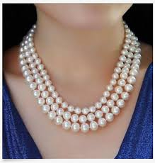 aliexpress pearl necklace images Hot triple strands 7 8mm 9 10mm round akoya white pearl necklace jpg