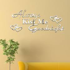 cheap 3d kiss me goodnight alphabet mirror stickers living room use mural sticker properly can bring big changes to your house flower and grass mural stickers for the spring blue and yellow mural stickers for walls for