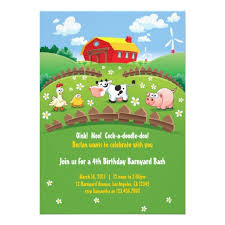 farm kids birthday invitation card