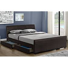 Black Sleigh Bed 4ft6 Double Size Leather Sleigh Bed With Storage 4x Drawers Black
