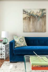 21 different style to decorate home with blue velvet sofa within