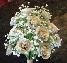 silk baby s breath the klacie spiral book page bridal bouquet with silk baby s