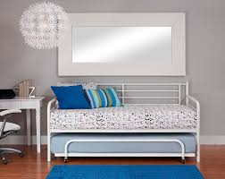 Modern White Bed Frame Amazon Com Dhp Separate Trundle For Dhp Metal Daybed Frame White