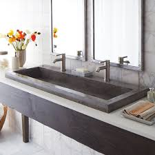 clever bathroom sink with two faucets trough vanity modern instead