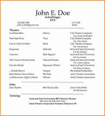 Technical Theatre Resume Template Theatrical Resume Template Word Sample Acting Resume Performance