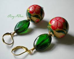 paper mache earrings made earrings christmas colors paper mache glass