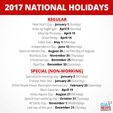 regular and special holidays in 2017 lifestyle gma news online