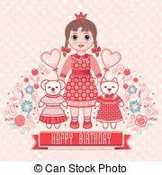 vector clip art of happy birthday little princess holiday card
