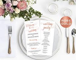 wedding program template rose gold wedding program pdf