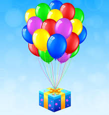 balloons gift birthday background with balloons and gift stock vector