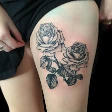 dot work black rose tattoo on thigh by frank ready tattoonow