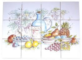Ceramic Tile Mural Backsplash by Country Wine And Grapes Kiln Fired Ceramic Tile Mural Backsplash