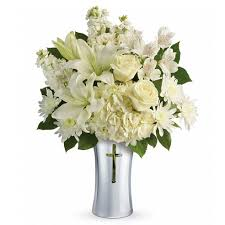 sympathy flowers shining cross bouquet at send flowers