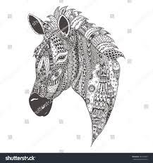 zebra ethnic floral doodle pattern coloring stock vector 381876463