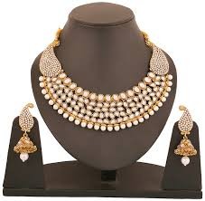 gold tone necklace set images Buy touchstone gold tone white crystals faux pearls alloy metal jpg