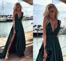 dress satin prom dress emerald green v neck thigh slit black