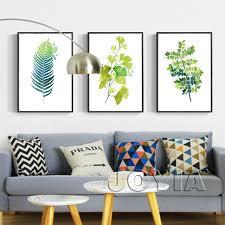 Home Interior Prints Leaf Print Wall Decor Green Botanical Leaves Prints Minimalist