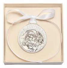 white enamel god bless our baby crib medal silver
