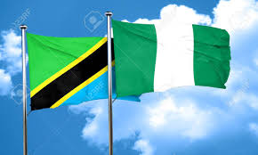 Nigerian Flag Tanzanian Flag With Nigeria Flag 3d Rendering Stock Photo