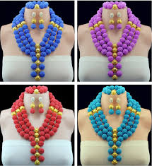 african beads necklace images Gorgeous pueple champagne african beads jewelry set unique 3 jpg