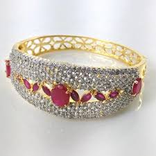 diamond bracelet ladies images Buy indian ad ruby stone wedding gold plated ladies broad diamond jpg