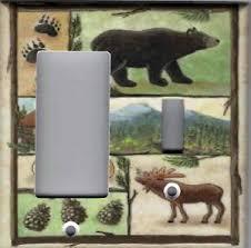 cabin bear moose home decor double combo gfi outlet rs light