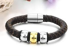 bracelet beads leather images Mens leather bracelet brown leather three beads by amara amara jpg