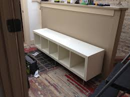 ikea hack storage bench using expedit bookcase with capita legs