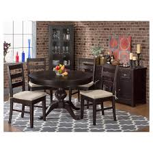 prospect creek round to oval dining table wood dark brown jofran