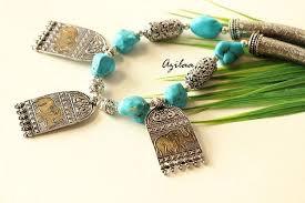turquoise necklace sets images Ethnic blue turquoise gemstone beaded handmade necklace set at jpg