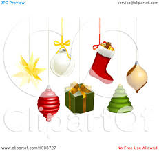 clipart 3d hanging star spinner bauble gift stocking tree and orb