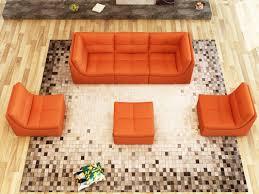 Orange Leather Sofa Divani Casa 207 Modern Orange Bonded Leather Sectional Sofa