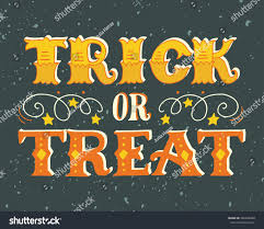 trick treat halloween poster hand lettering stock vector 306448838