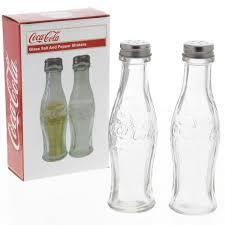 coca cola clear contour bottle s u0026 p set salt and pepper shakers
