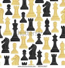 seamless pattern all chess pieces black stock vector 383443927