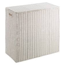plastic laundry hamper clement white divided laundry hamper buy now at habitat uk