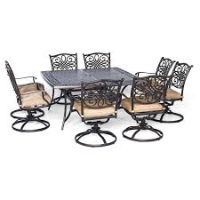 7 Piece Patio Dining Set With Swivel Chairs - darlee ocean view aluminum 9 piece square patio dining set hayneedle