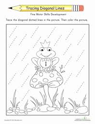 tracing diagonal lines complete the frog prince worksheet