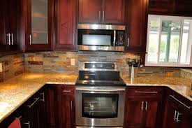 backsplash ideas for cherry cabinets kitchen pinterest