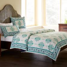 Duvet Cover Teal Paisley Block Print Duvet Cover U0026 Shams Bedding Set Vivaterra