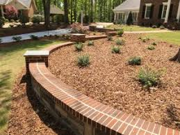 brick and stone are a natural combination for landscaping