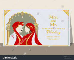 Indian Wedding Invitation Card Sample Indian Wedding Invitation Card Abstract Background Stock Vector