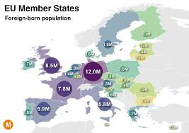 European Union Map Of Those Living In The European Union Who Were Foreign Born