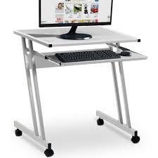 Computertisch Rollen Computertisch In Weiß Mit Aluoptik Farbauswahl Computerwagen
