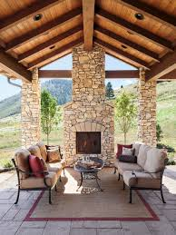 covered outdoor fireplace houzz